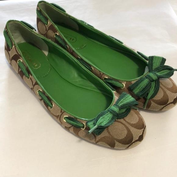 Coach Signature Green & Brown Ballet Flats